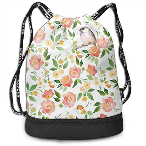 Multipurpose Drawstring Bag for Men & Women, Flower Petals Blossoms Leaves And Bird Sitting Vintage Inspired Theme Image,Tote Sack Large Storage Sackpack for Gym Travel Hiking