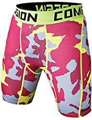 TOOGOO(R) New Running Sport Mens Basketball Tight Compression Shorts Gym Fitness Clothing Training Wicking Short Pants Homme Men(grey camouflage S)