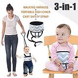 Umiin - Accessorio 3-in-1 per bebè, seggiolone da viaggio portatile, guinzaglio di sicurezza per camminare, fascia di sicurezza per carrello della spesa, leggero e lavabile