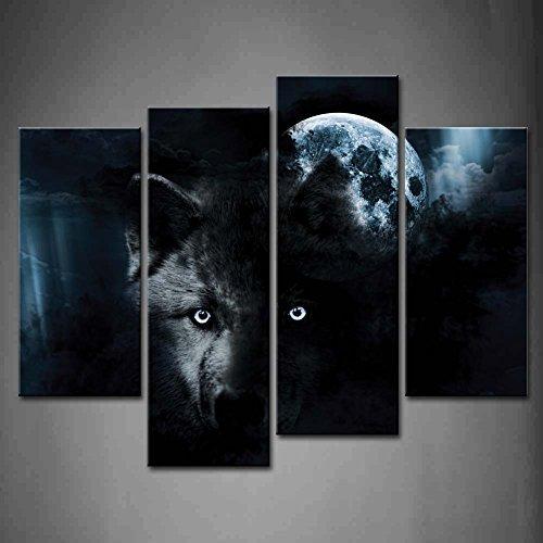 4 Verkleidung Schwarz Wolf Und Voll Mond Wandkunst Malerei Das Bild Druck Auf Leinwand Tier Kunstwerk Bilder Für Zuhause Büro Moderne Dekoration (Leinwand-drucke Tier)