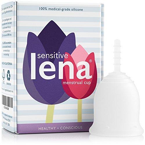 Lena Sensible Cup - Copa Menstrual - Pequeña - Clara - Flujo Regular - Copa Suave para Principiantes - Hecha en EE.UU. - Vejiga Sensible & Calambres Menstruales