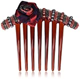 Caravan French Twist Comb Decorated In Two (2) Tone Wrapped Rose And Multiple Beads In Red And Black