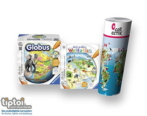 tiptoi Ravensburger Atlas - Buch Set | Mein großer Weltatlas Interaktiver Globus 00558 + Kinder Weltkarte - Länder, Tiere, Kontinente