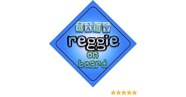 present for new child Baby Boy Reggie on board novelty car sign gift newborn baby