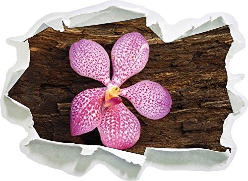 Rinde Wohnzimmer (Orchidee Blüte auf Rinde , Papier 3D-Wandsticker Format: 92x67 cm Wanddekoration 3D-Wandaufkleber Wandtattoo)