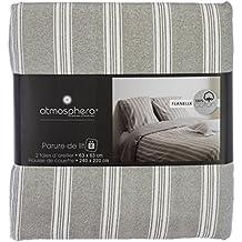 Funda nórdica de Franela para cama doble - Calidad superior - Color GRIS - 240 x 220 cm
