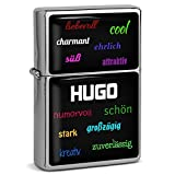 PhotoFancy® - Sturmfeuerzeug Set mit Namen Hugo - Feuerzeug mit Design Positive Eigenschaften - Benzinfeuerzeug, Sturm-Feuerzeug