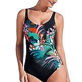 Rcool Sexy Costume da bagno Donna bikini Costume intero monocolore stampato a colori (Nero, XL)