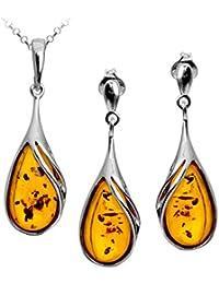 Amber Sterling Silver Drop Pendant Earrings Set Chain 46cm