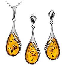 Noda - Set di orecchini e ciondolo, a forma di goccia, argento sterling e ambra baltica, catenina rollò lunga 46 cm inclusa, colore: Miele