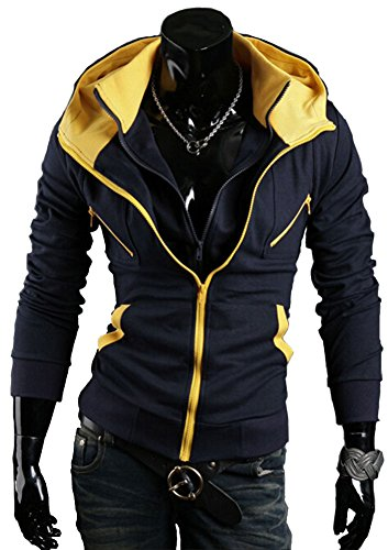 Wiboyeu strato, da uomo, Color Block-Felpa-giacca in pile con cappuccio blu navy XL