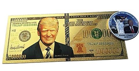 Donald Trump Jahrestag Millionen Dolar vergoldet Banknote +, versilberte Medaille