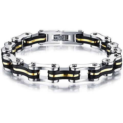 YSM Bike Bracciale catena 225 millimetri in acciaio inossidabile BRACCIALI moda di fascino e Classic Wristband (Argento + Nero + oro)
