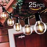 Guirlande lumineuse, tronsiky String Lights avec 25 Boules Lampes Cordes Pour Décoration intérieur et extérieur pour Patio, Café, Jardin, Décoration de Parti (Blanc Chaud)
