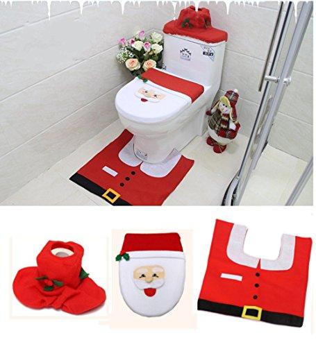 Copri Wc Babbo Natale.Babbo Natale Copriwater Copertura E Tappeto Set Per Il Bagno Di Natale Decorazioni Con Serbatoio Della Scatola Del Tessuto Colore Rosso
