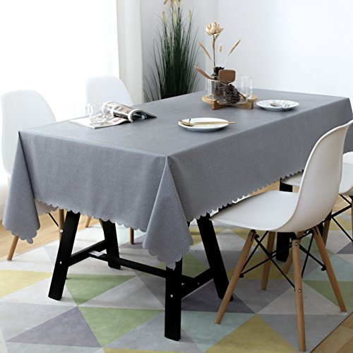 KITnerkned Imperméable Anti-échaudage Huile-Preuve Rectangle carré Nappe de Table,Toile PVC Cuisine Manger Nappe fit Parties & Repas de fête-Gris G 130x180cm(51x71inch)