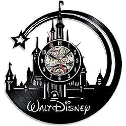 OOFAY Clock@ Wanduhr aus Vinyl Schallplattenuhr Disney Schloss Design-Uhr Wand-Deko Vintage Familien Zimmer Dekoration Durchmesser 30 cm