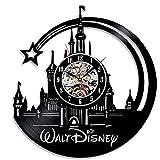 YUN Clock@ Wanduhr Aus Vinyl Schallplattenuhr Disney Schloss Design-Uhr Wand-Deko Vintage Familien Zimmer Dekoration Durchmesser 30 cm
