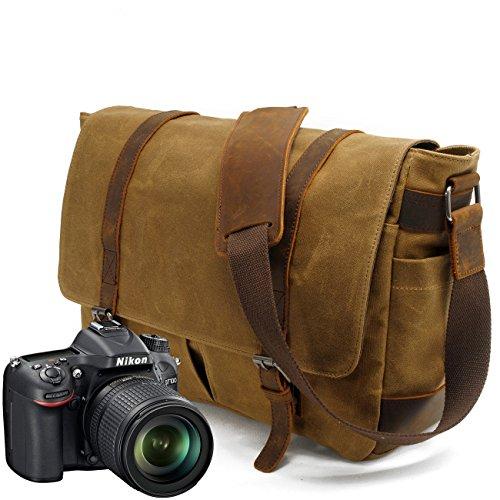 Neue Version-Gute Qualität--90 Tage Garantie- Vintage Wasserdicht Kameratasche Aktentasche herausnehmbar Kamerafach Canvas Leder Umhängetasche Fototasche für DSLR Objektiv Laptopfach SLR-Kamera