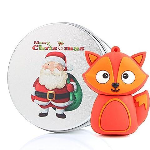 Noël Santa Clé USB FOX Mémoire Stick Créatif Lecteur Flash USB FLASH Drive 8G/16 GO/32GO/64 GB