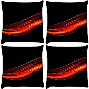 Snoogg Abstract Red Design Pack Of 4 Digitally Printed Cushion Cover Pillows 16 X 16 Inch