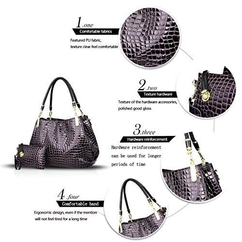 H&S Nuovo Femminile Borse Moda coccodrillo grano Borsa a mano Stile Casual Set di 2 borse Borsa messenger + Portafoglio marrone