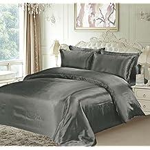 Lujo King tamaño satén gris silk6piezas juego de ropa de cama funda de edredón, sábana bajera + 4fundas de almohada