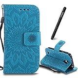 SchutzHülle für Galaxy S4 Mini i9190 Blau,Slynmax Mandala Blume Hülle Wallet Case HandyHülle für Galaxy S4 Mini i9190 Tasche Klapphülle Flip Cover Ledertasche Brieftasche Lederhülle Handytasche,Flower