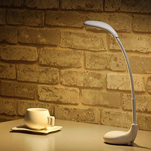 Lámpara mesa, glisteny 3W, USB Eye-Care luz LED, 3niveles de intensidad regulable, control modalidades, cuello de ganso brazo flexible 360° USB luz nocturna para Studio, habitación, oficina