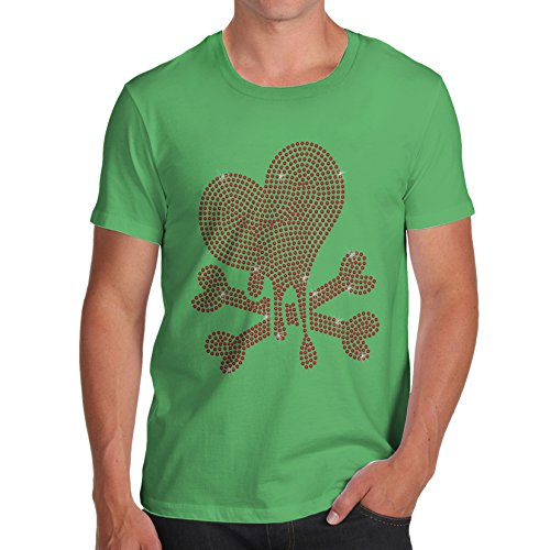 Herren Herz Beschnitt Strass mit Bio Baumwolle T-Shirt Grün - Grün