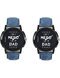Swadesi Stuff Blue Leather Belt Watches Combo Of 2 Watches For Men & Boys