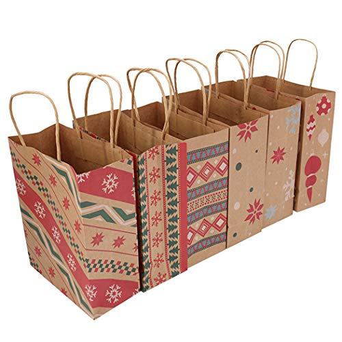 COAFIT 12PCS Weihnachten Geschenktasche Papiergeschenk Beutel Gastgeschenk Kasten Backpapierkasten
