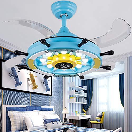 WWLONG Deckenventilator Licht Kinderzimmer Deckenventilator Licht 36 Zoll / 92 cm LED stumm unsichtbare Deckenventilator Kinderzimmer Lampe, dimmbar + Fernbedienung-Blue -