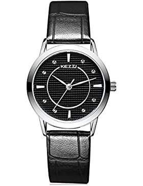 Mode Leder Uhrenarmband Quarz Damen Armbanduhren Für Paar, Schwarz