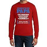 Geschenk für Vater - Ich Bin Stolzer Papa Fantastischen Sohnes Langarm T-Shirt Medium Rot