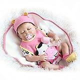 QXMEI Schlafend Reborn Baby Doll Mädchen Echt Aussehende Silikon Pink mit Kuh Muster Outfit 56 cm
