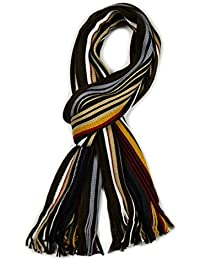 Mens Multicoloured Striped Scarf Luxury Ribbed Scarves in 3 Multicoloured Options