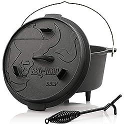 BBQ-Toro Dutch Oven Premium Serie | bereits eingebrannt - preseasoned | Verschiedene Größen | Gusseisen Kochtopf | Bräter mit Deckelheber (DO9P - 9,0 Liter)