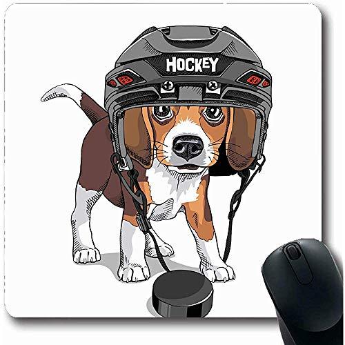 Mousepad Haustier Braun Hund Welpe Beagle Eishockey Helm Niedlich Wildlife Sport Erholung Lustig Entzückend Schwarz Mousepads Rutschfeste Mausunterlage Gaming Computer 25X30cm