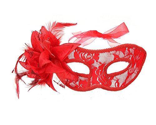 MwaaZ Produkte mit hoher Qualität Festival-Feder-Spitze-Augen-Maske-venetianische Blumen-Maske für Kostümball-Kostüm-Partei (Farbe : Red)