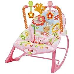 Fisher-Price - Hamaca crece conmigo, monitos divertidos, color rosa (Mattel Y8184)