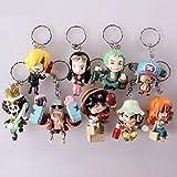 Romantic-Z Anime One Piece PVC Action Figures Carino Mini Figure Giocattoli Bambole Collezione di Modelli Toy Brinquedos Set da 9 Pezzi, Portachiavi