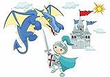 nikima - 041 Wandtattoo Kinderzimmer Ritter mit Drache und Burg Schloss - in 6 Größen - wunderschöne Kinderzimmer Sticker und Aufkleber niedliche Wanddeko Wandbild Junge Mädchen (1000 x 560 mm)