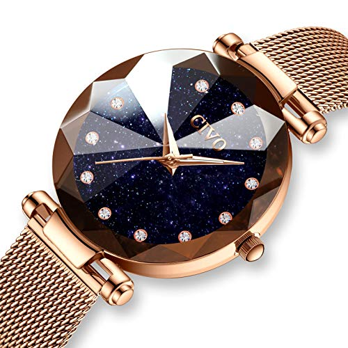CIVO Damen Uhren Wasserdicht Silm Minimalistisch Rose Gold Damenuhr mit Edelstahl Mesh Armband Mode Kleid Elegant Luxus Beiläufig Quarzuhr für Frau Lady Teenager Mädchen (Blau)