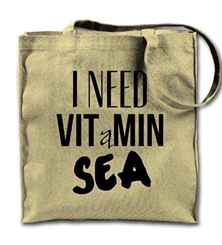 I Need Vitamin Sea Natürliche Leinwand Tote Tragetasche, Tuch Einkaufen Umhängetasche