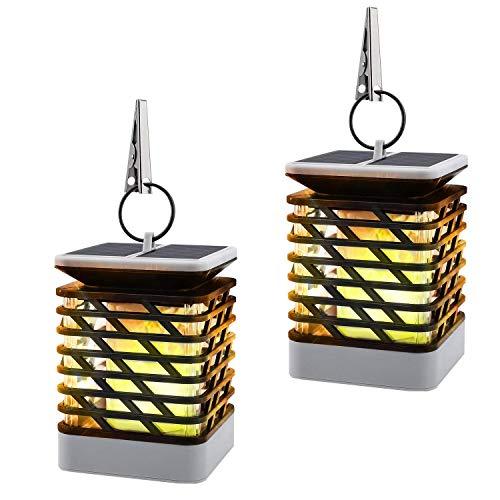 MoKo Solarflamme beleuchtet, imprägniern LED angetriebene flackernde Flammen-Fackel-Lichter im Freien hängende dekorative Beleuchtung [2 stücke], Schwarz - Flackernde Flamme-licht