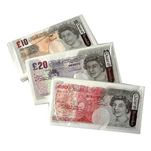1 Pack of 10 Novelty Pocket Tissues Either 50, 20, 10 Notes supplied at Random