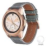 WFEAGL Compatible avec Bracelet Samsung Galaxy Watch 42mm/Gear S2 Classic/Gear Sport/Huawei Watch 2,20mm Grain Supérieur Bande en Cuir à Dégagement Rapide Bracelet(20mm, Gris+Boucle Or Square)