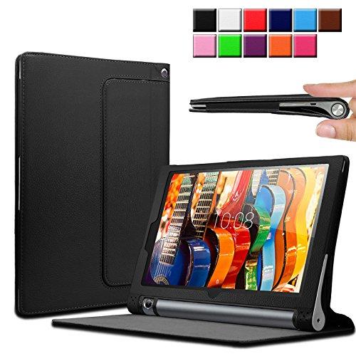 Infiland Lenovo Yoga Tab 3 10 Hülle Case, Slim dünne Kunstleder Schutzhülle Cover Tasche für Lenovo Yoga 3 10 (10,1 Zoll) Tablet (mit Auto Schlaf/Wach Funktion)(Schwarz)