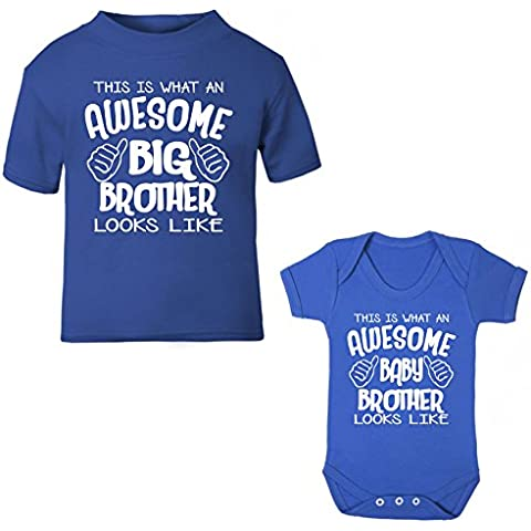 Esto Es Lo Que Un Impresionante gran Hermano y Baby Brother Looks like Royal azul para niños camiseta & Body Set de regalo
